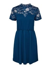 Monna s/s mix dress ONLY blue opal