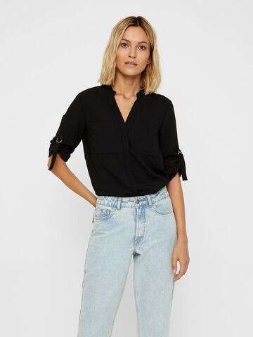Cammi l/s v-neck shirt VERO MODA black