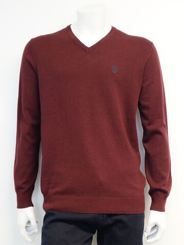 Hampton V knit PRE END Deep Wine mix