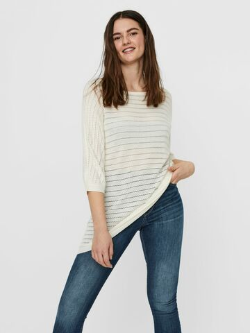 Yoyo 3/4 boatneck long blouse VERO MODA cloud dancer