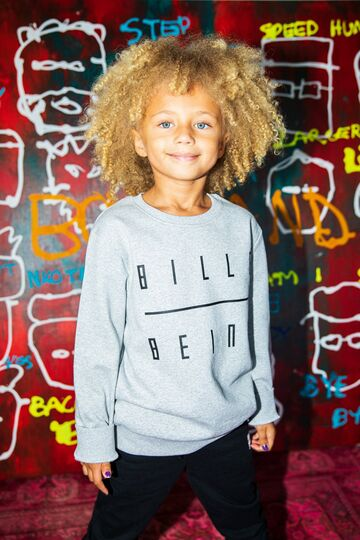 Kids sweatshirt BILLEBEINO grey melange-black print