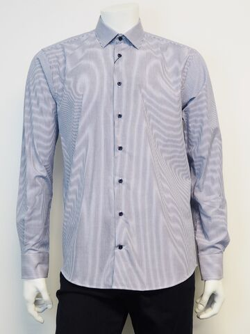 Shirt l/s french placket GINO MARCELLO oxford blue