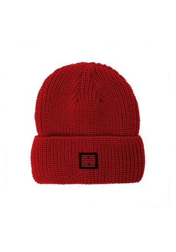Fishermans rib knit beanie BILLEBEINO red