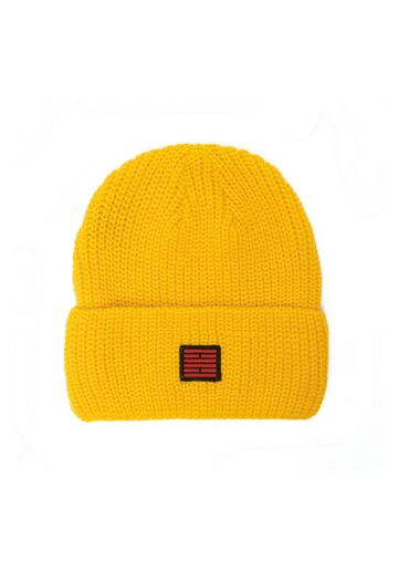 Fishermans rib knit beanie BILLEBEINO yellow
