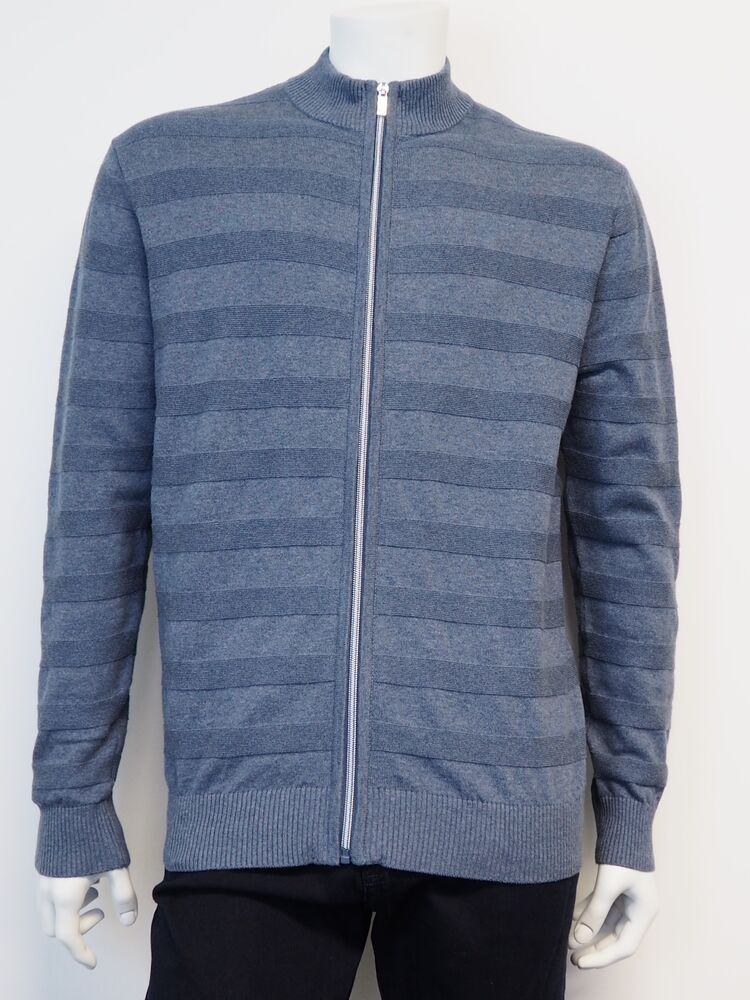 Striped cardigan BLACK BLUE royal blue