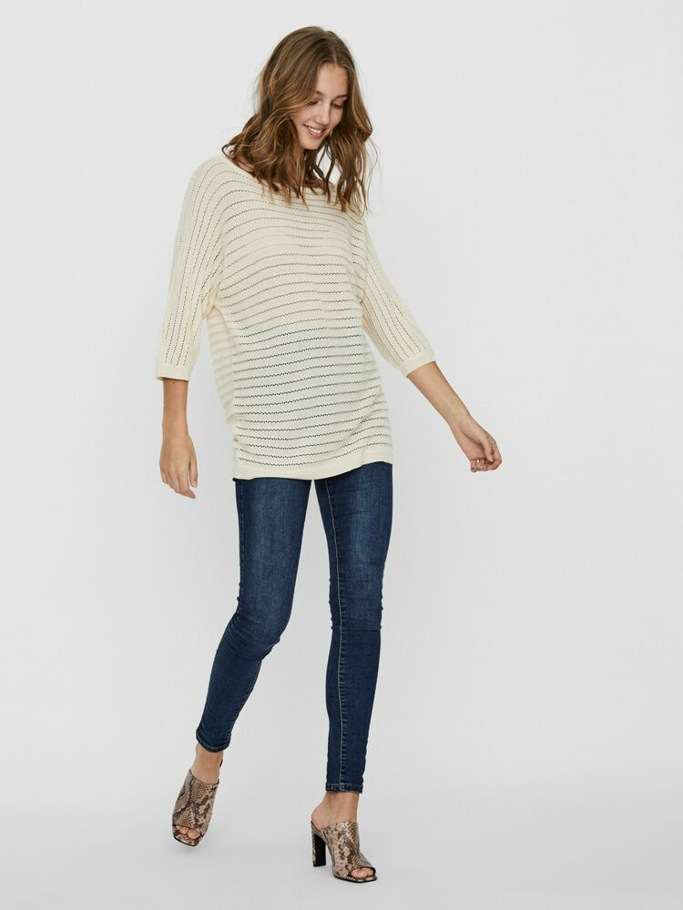 Yoyo 3/4 boatneck long blouse VERO MODA birch