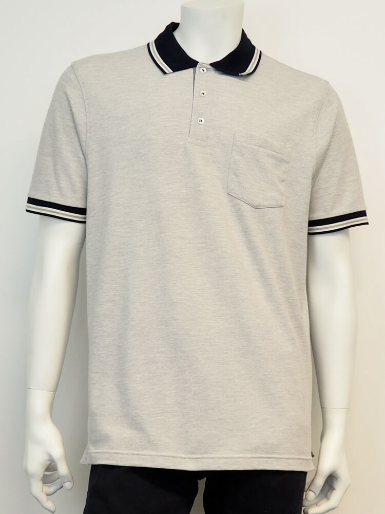 Polo 2 tone BLACK BLUE light grey