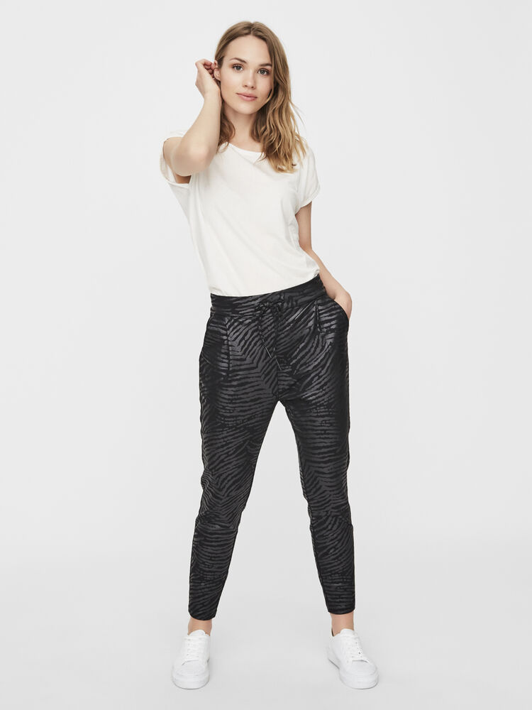 Eva mr loose string zebra coating pant VERO MODA black